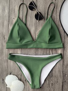 Cami Plunge Bralette Bikini Top And Bottoms - Green M