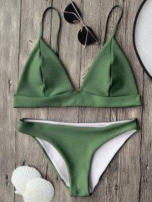 Cami Plunge Bralette Bikini Top And Bottoms - Green