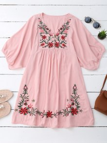 Floral Embroidered V Neck Peasant Dress - Pink