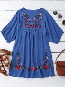 Floral Embroidered V Neck Peasant Dress - Blue