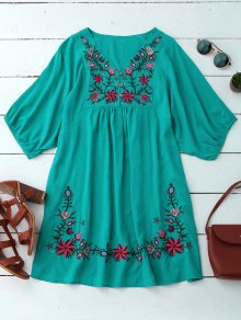 Floral Embroidered V Neck Peasant Dress - Pantone Turquoise