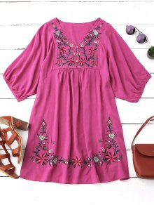 Floral Embroidered V Neck Peasant Dress - Rose Red
