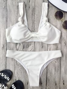 Ribbed Knotted Bowknot Bathing Suit