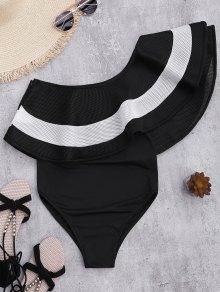 على النقيض من كشكش تراكب قطعة واحدة ملابس السباحة - أسود S