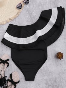 Contrast Ruffle Overlay One Piece Swimsuit