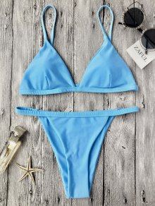 Low Waisted Spaghetti Strap Bikini Swimwear - Blue M