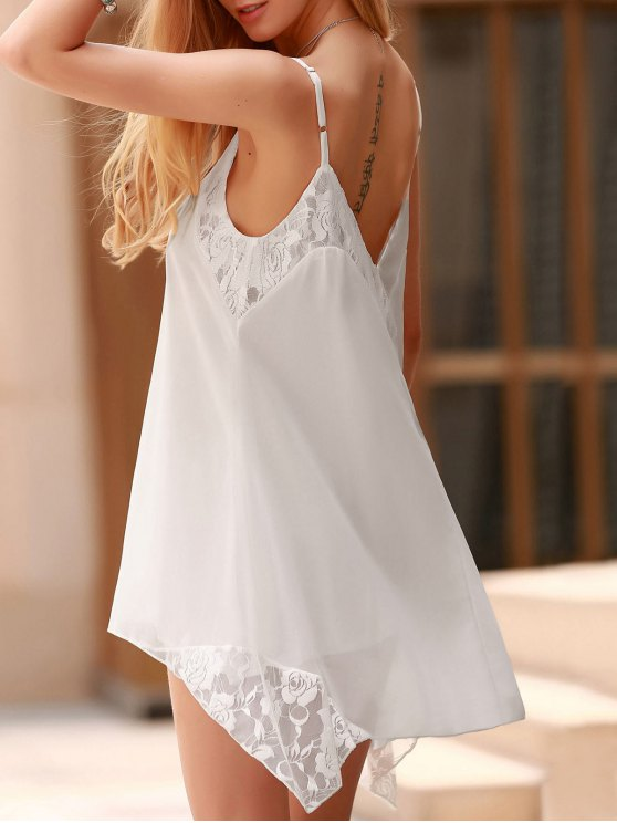 outfit Lace Spliced Spaghetti Straps Solid Color Dress - WHITE XL