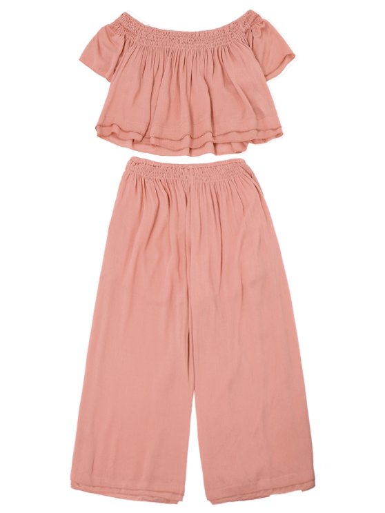 Off Shoulder Top and Wide Leg Capri Pants - PAPAYA M Mobile