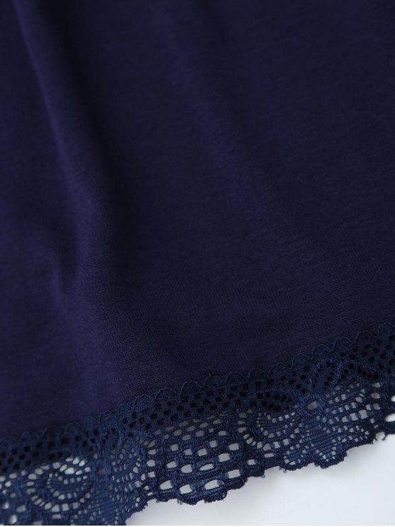 Off Shoulder Ruffle Lace Crop Top - PURPLISH BLUE S Mobile
