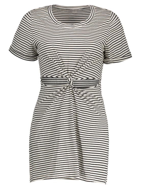 Striped Round Collar Short Sleeve Knotted Cut Out Dress - WHITE AND BLACK M Mobile