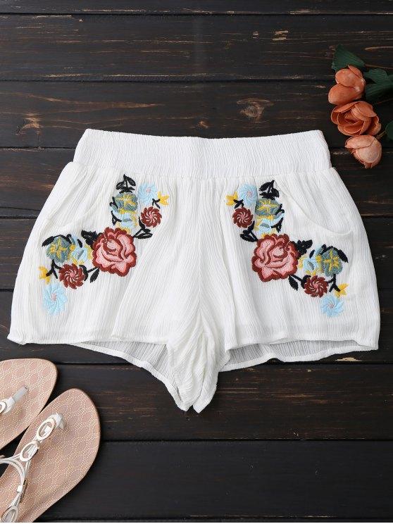 Pantalones bordados florales bordados - Blanco L