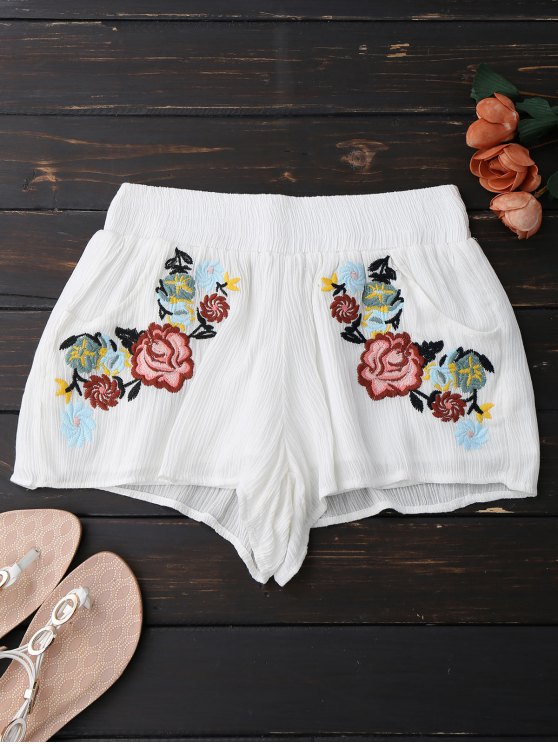 best Lined Floral Embroidered Shorts - WHITE S