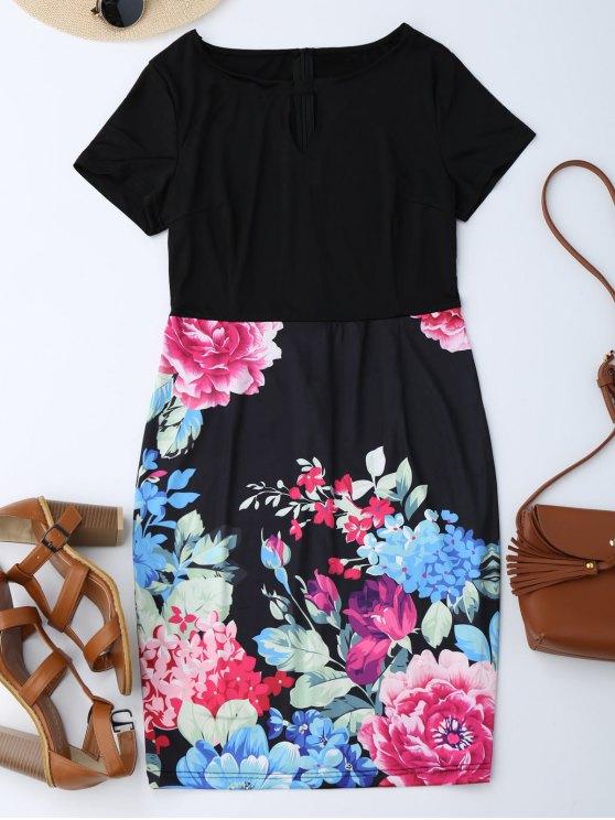 outfits Cut Out Floral Sheath Dress - BLACK S