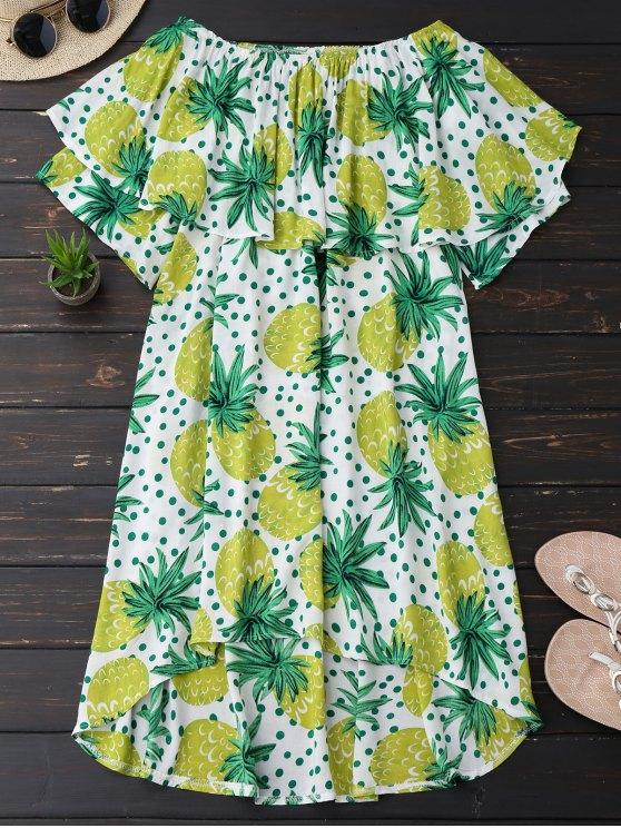 fancy Ruffle Off Shoulder Pineapple Dress - BLUISH YELLOW 2XL