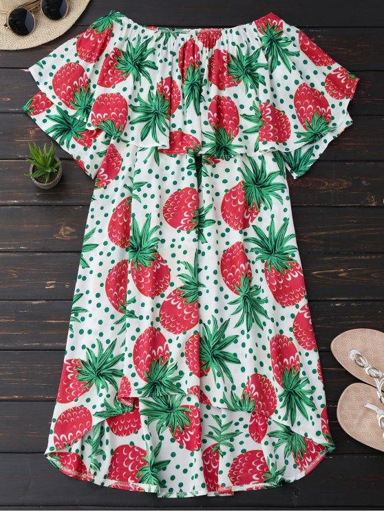 buy Ruffle Off Shoulder Pineapple Dress - PLUM M