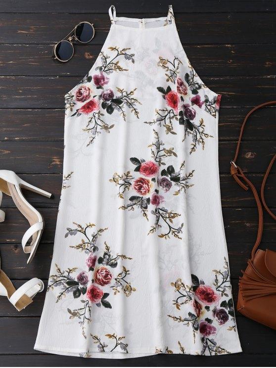 Vestido de cuello alto floral A-Line - Floral L