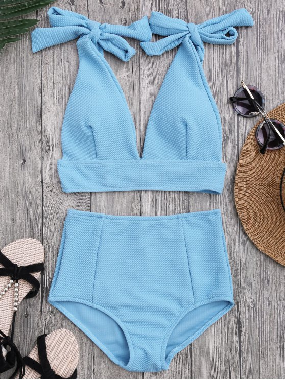 trendy Tied Plunging Neck High Waisted Bikini - AZURE M