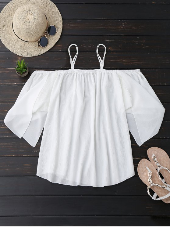 buy Cami Cold Shoulder Asymmetric Sleeve Top - WHITE L