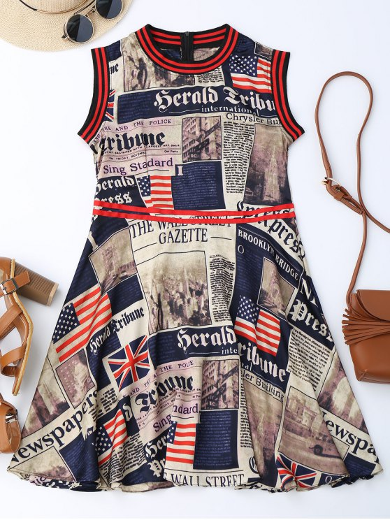outfit Newspaper American Flag Print Sleevelss Dress - COLORMIX L