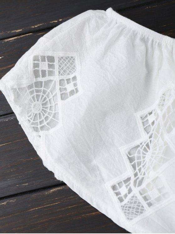 Lace Trim Cut Out Off Shoulder Romper - WHITE M Mobile