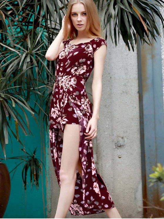 Floral Off The Shoulder Short Sleeve Playsuit - WINE RED L Mobile