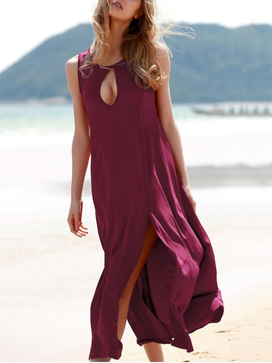 latest Keyhole Design Double Split Dress - WINE RED XL