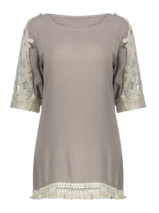 Perspective Lace Splicing Round Neck 3/4 Sleeve Dress - LIGHT KHAKI XL Mobile