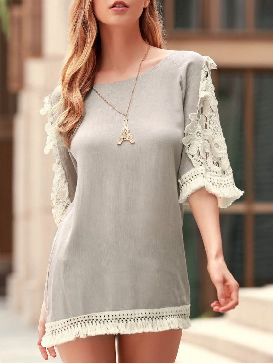 lady Perspective Lace Splicing Round Neck 3/4 Sleeve Dress - LIGHT KHAKI L