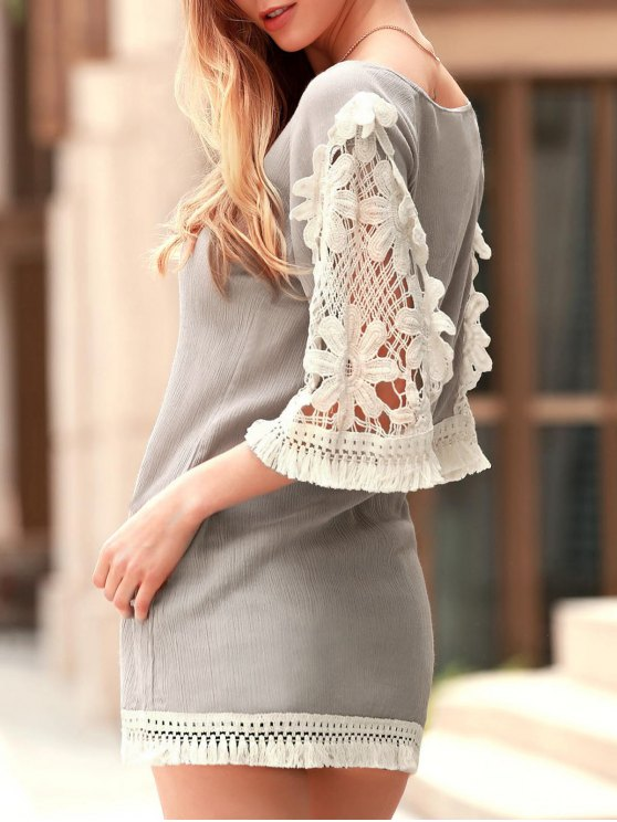 Perspective Lace Splicing Round Neck 3/4 Sleeve Dress - LIGHT KHAKI S Mobile