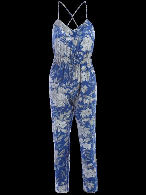 Blue Floral Print Cami Jumpsuit - BLUE L Mobile