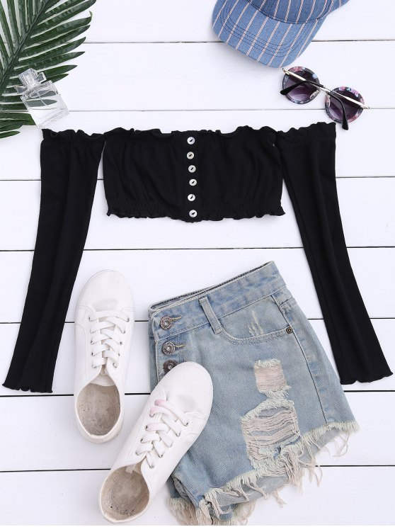 Button Up Off Shoulder Cropped Top - BLACK ONE SIZE Mobile
