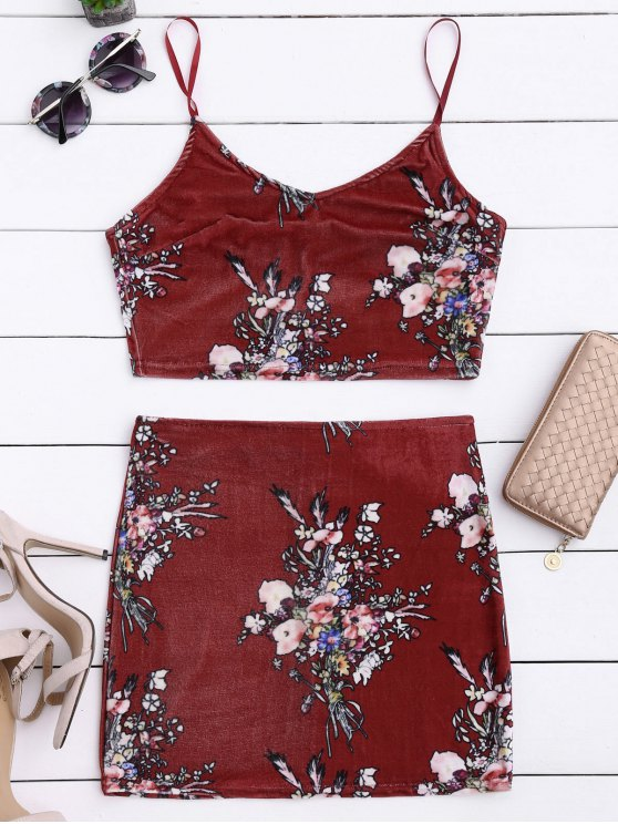 Velvet Floral Crop Top y Bodycon Falda - Burdeos XL