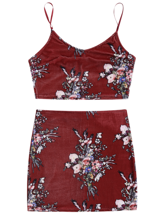 Velvet Floral Crop Top and Bodycon Skirt - CLARET S Mobile