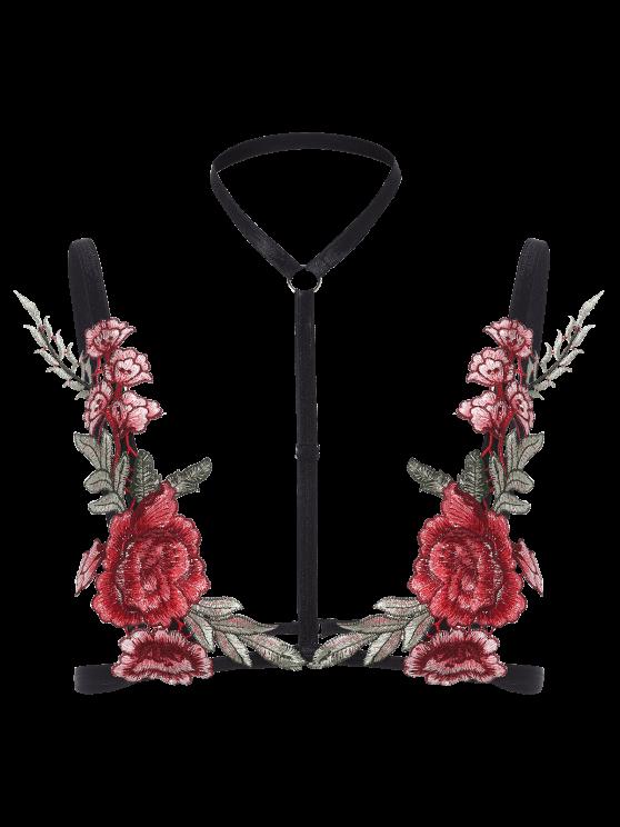 Bondage Floral Applique Lingeries Bra - BLACK M Mobile