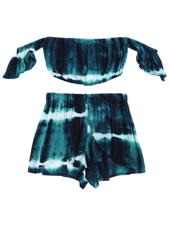 Tie-Dyed Off The Shoulder Crop Top and Shorts - BLACKISH GREEN S Mobile