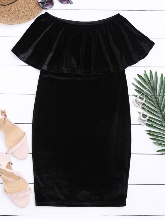 Off The Shoulder Ruffle Vestido de terciopelo - Negro M