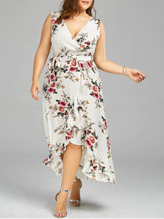 unique Plus Size Tiny Floral Overlap Flounced Flowy Beach Dress - WHITE 5XL