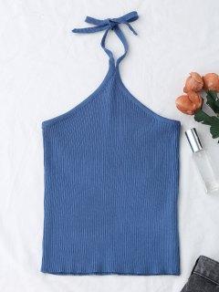 Halter Knitting Ribbed Tank Top - Blue
