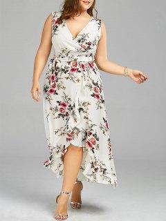 Plus Size Tiny Floral Overlap Flounced Flowy Beach Dress - White 5xl