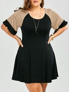 A Line Color Block Plus Size Dress - Black 4xl