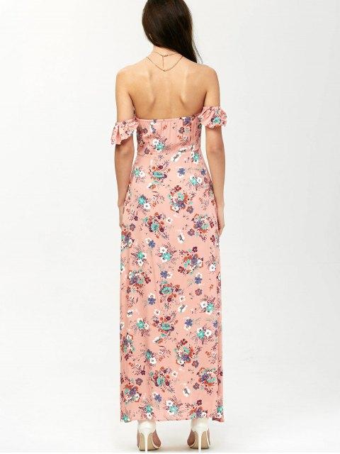 best Off The Shoulder Maxi Floral Slit Dress - ORANGEPINK S Mobile
