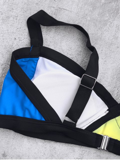 Splicing bretelles Color Block Bikini - Bleu S Mobile