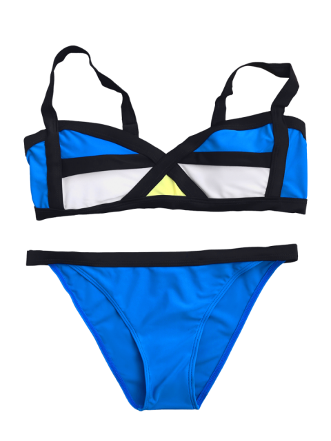 outfit Color Block Bralette Bikini Set - BLUE M Mobile