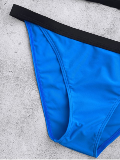 Splicing bretelles Color Block Bikini - Bleu L Mobile