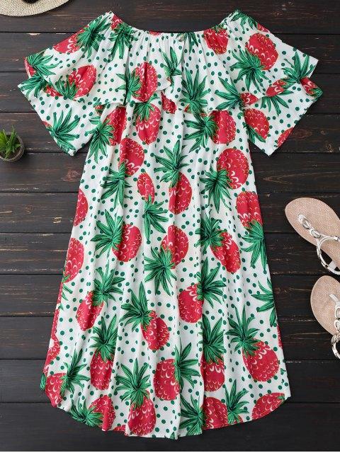 buy Ruffle Off Shoulder Pineapple Dress - PLUM M Mobile