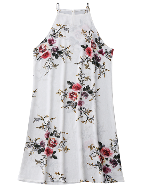 ladies Floral High Neck A-Line Dress - FLORAL S Mobile