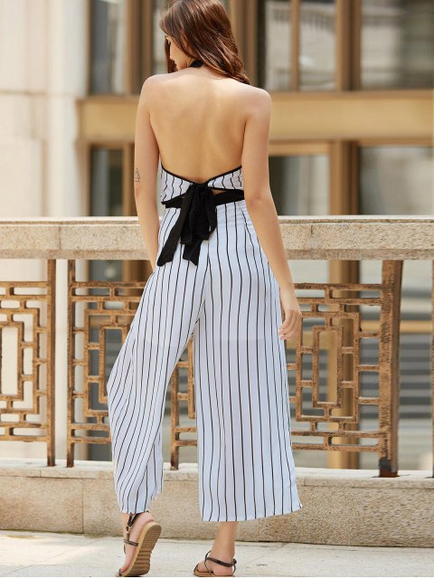 ladies Striped Backless Cut Out Halter Sleeveless Jumpsuit - WHITE M Mobile