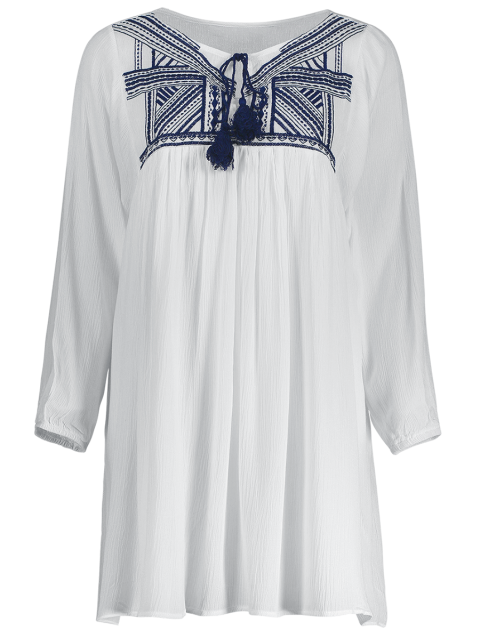 fancy Embroidery Long Sleeve Round Neck Swing Dress - WHITE M Mobile