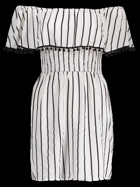 unique Striped Short Sleeve Off The Shoulder Dress - WHITE S Mobile