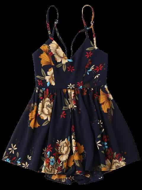 fashion Floral Criss Cross Romper - FLORAL XL Mobile
